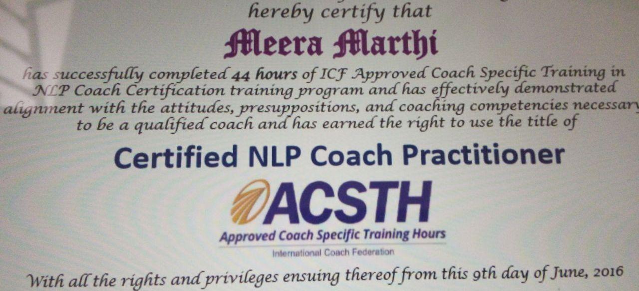 Congratulations Meera Marthi On Receiving Your Prestigious Icf