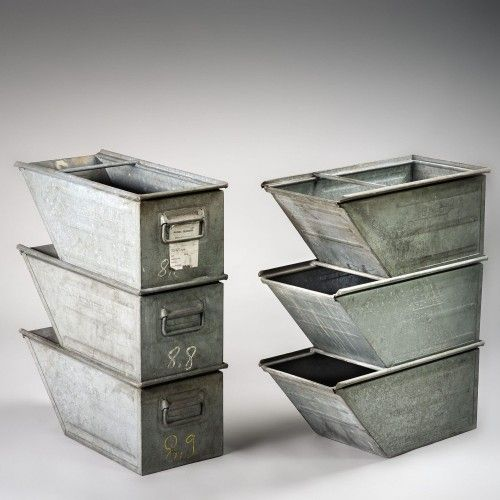 Grand Casier A Bec Schafer Kasten Galvanized Metal Decorative Boxes Vintage Industrial