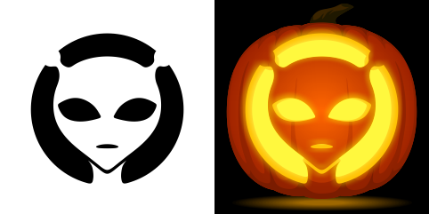 Alien Pumpkin Carving Stencil Free Pdf Pattern To Download And