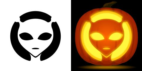 Alien pumpkin carving stencil free pdf pattern to for Alien pumpkin pattern