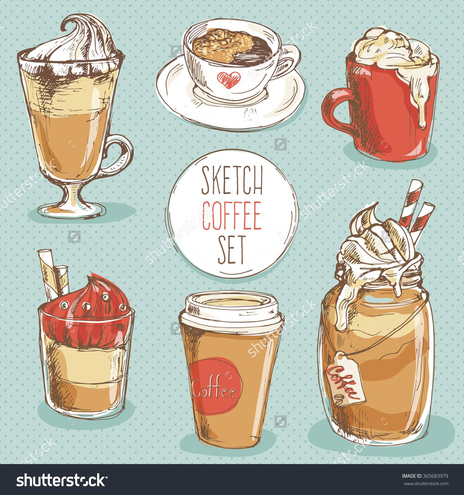 Coffee Set; Hand Drawn Sketch Collection With Cup Of Espresso, Cappuccino…