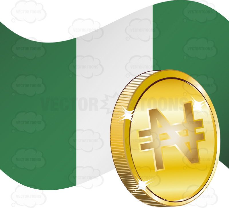 Flag Of Nigeria With Naira Sign On Gold Coin Vector Illustrations