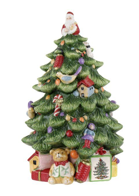 Amazon.com: Spode Christmas Tree Sculpted Christmas Tree Shaped Covered Cookie  Jar, 15
