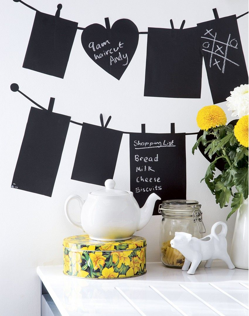 White Modern Kitchen with Chalkboard Stickers | Home sweet home ...