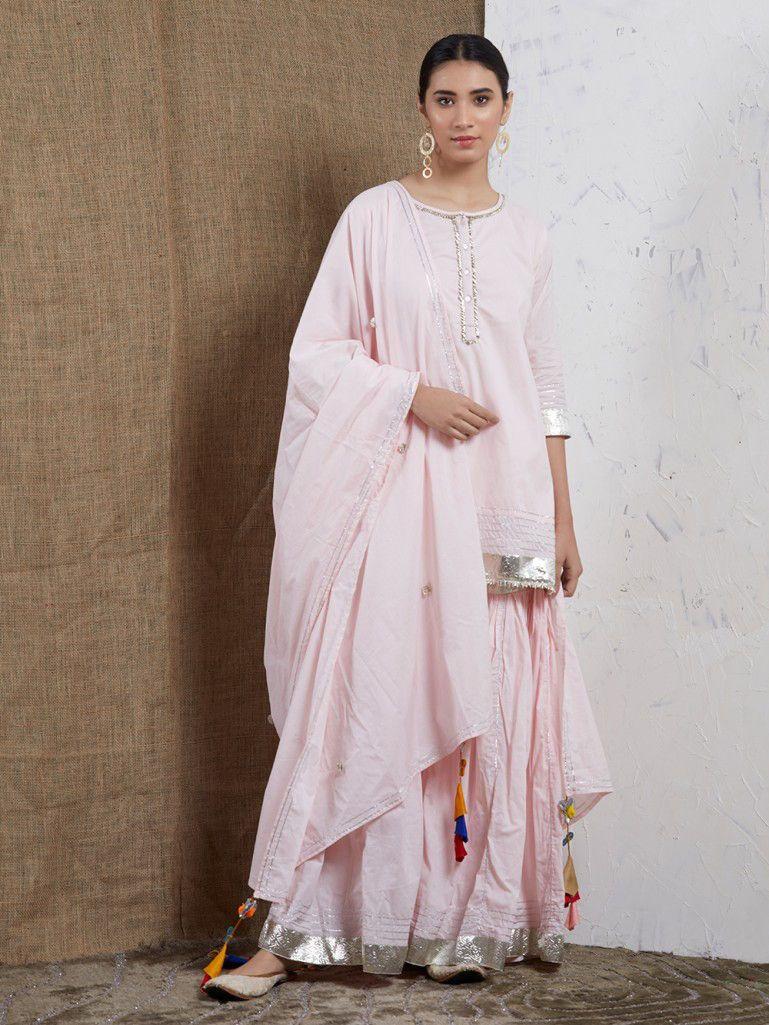 3377bf2bfc Pink Cotton Gota Sharara Suit - Set of 3 in 2019 | sharara/palazzo ...
