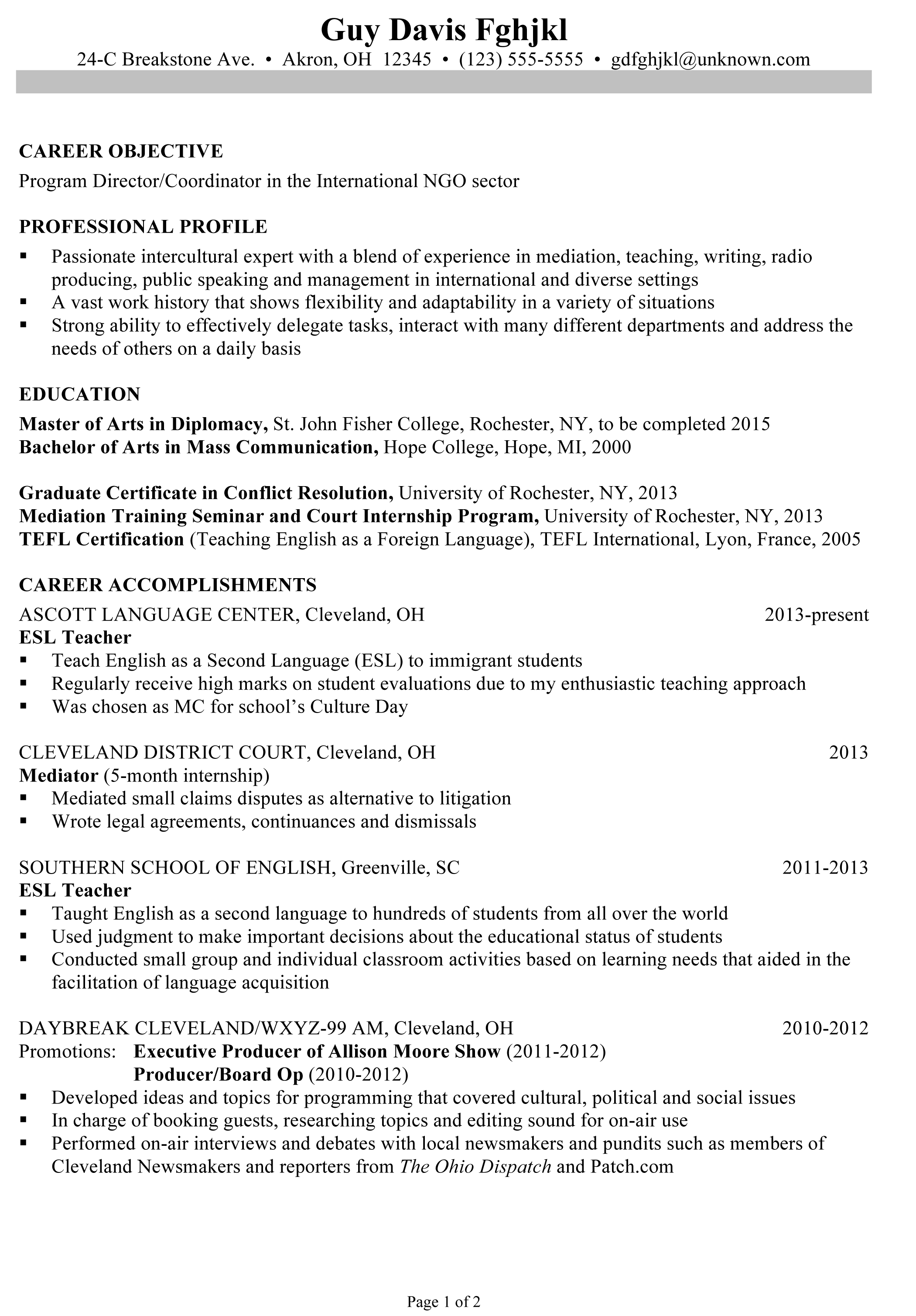 Tefl Resume Sample Cover Letter Esl Application Writers Site