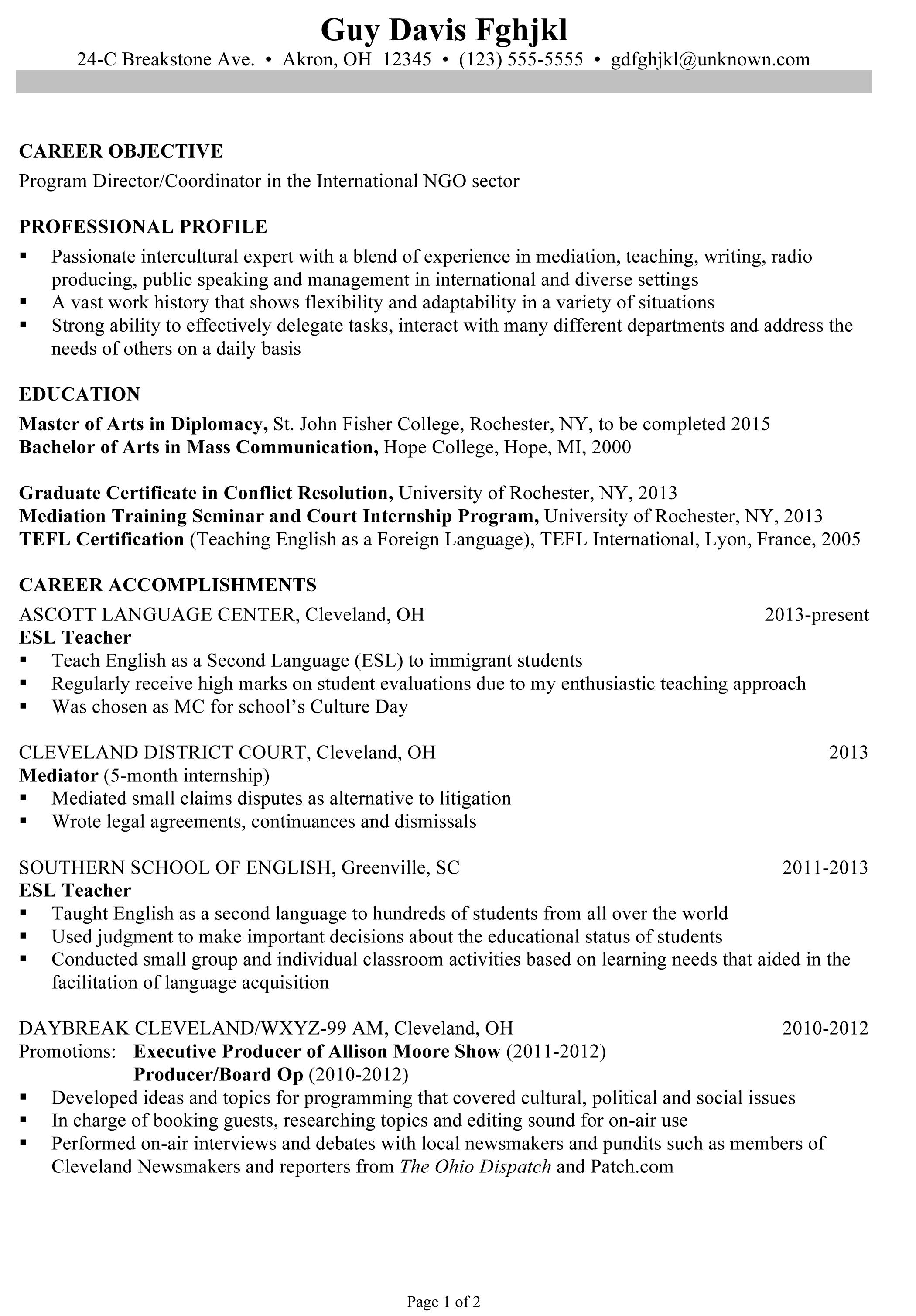 resume examples for teacher program