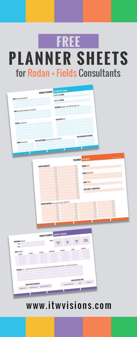 Rodan and Fields Business Checklist and Planner Sheets, Calendar ...