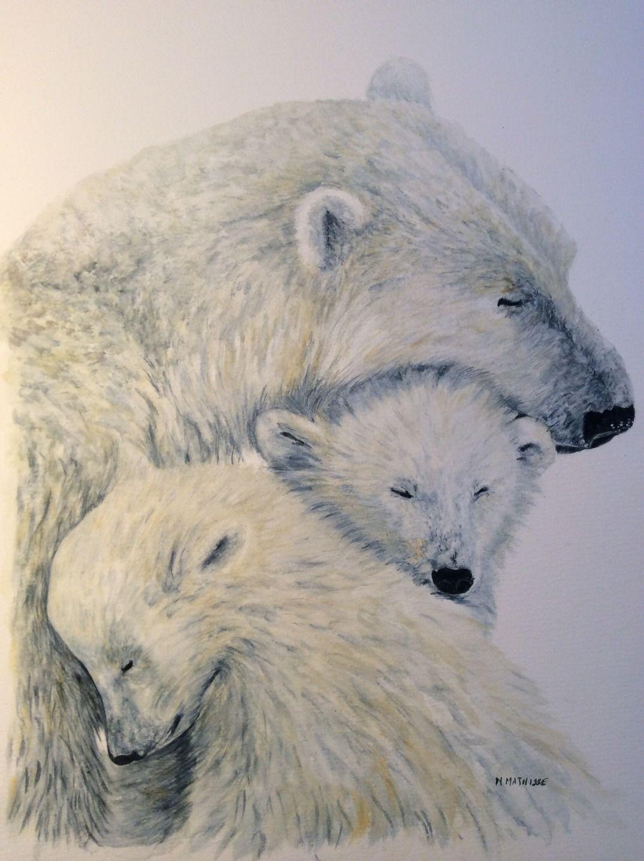 Ours Blancs Aquarelle Art Animalier Peintures Par Nadine