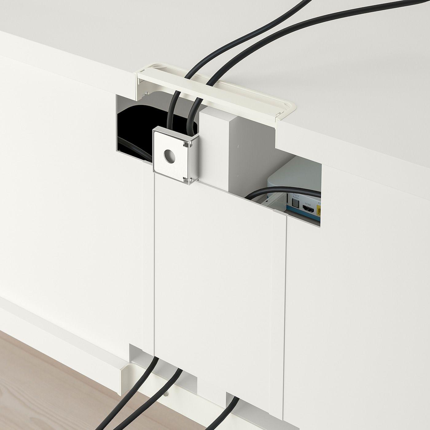 BESTÅ TV-Bank mit Schubladen – weiß Selsviken/Stallarp/Hochglanz dunkel rotbraun 120x42x48 cm