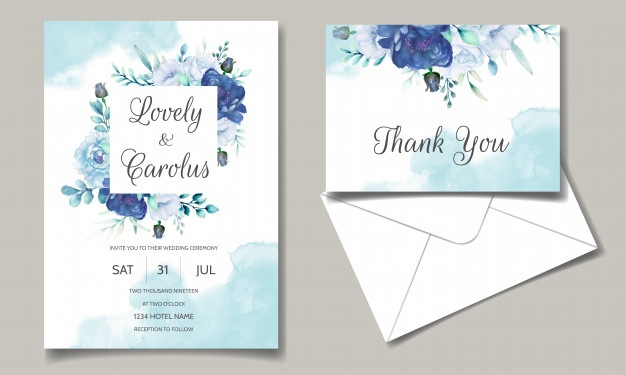 Wedding Invitation Card With Blue Watercolor Floral in