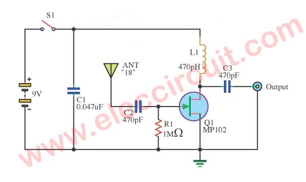 Simple active antenna in swmwfm bands eleccircuit circuit this is a simple active antenna circuit for the radio receiver swmwfm band it is a circuit to try to work on many brands of radios ccuart Images
