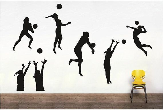 Set Of Volleyball Players Silhouettes Vinyl By