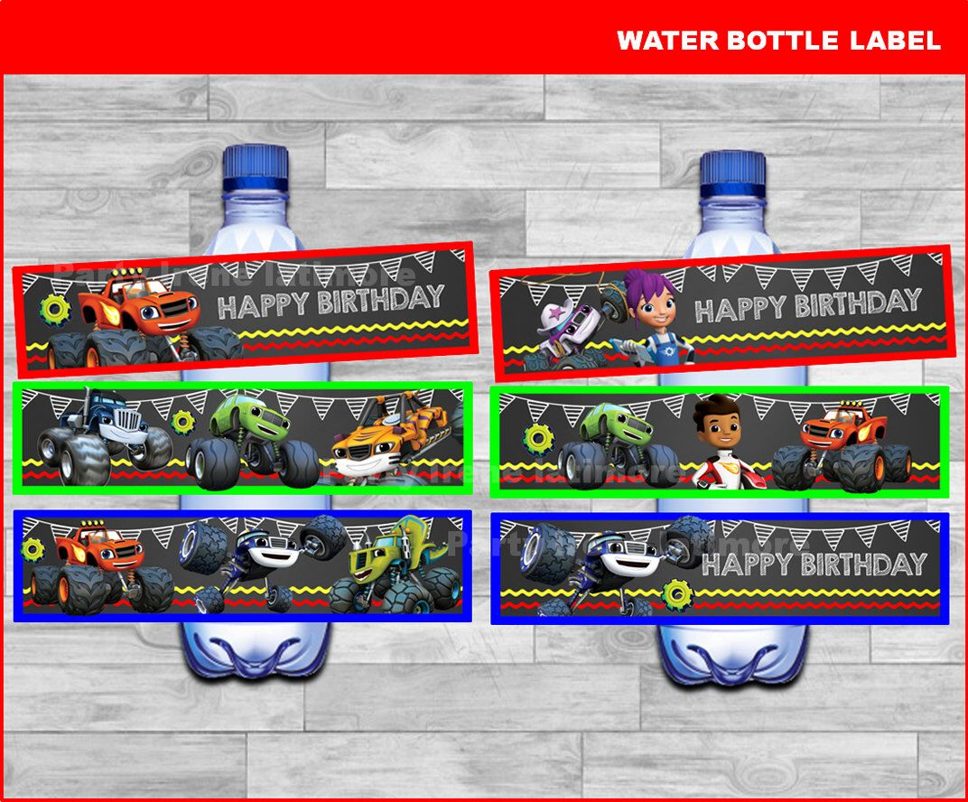 blaze and the monster machines bottle labels instant download