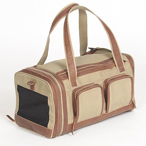 Pet Deluxe Travel Carrier  Tough Khaki Canvas with Genuine Leather Accents >>> Learn more by visiting the image link.