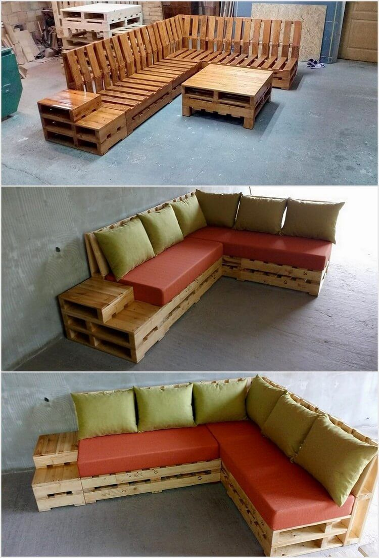 You Can Also Creatively Add Your House Garden With The Wood Pallet L Shaped Amazing Couch And Table Mobiliario De Paletes Moveis De Paletes Moveis De Caixotes