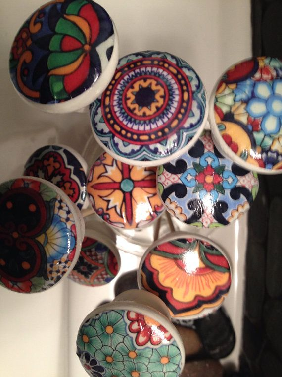 wooden drawer knobs Talavera design hand decorated by LilandJil ...