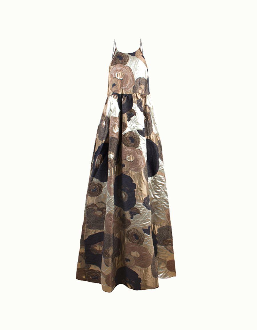 Metallic floral brocade cheyenne maxi dress by erika cavallini on