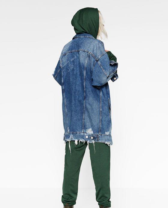 Image 5 of LONG DENIM JACKET from Zara  87d4091524b