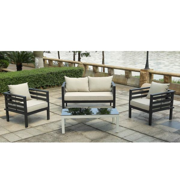 Excellent Quality Outdoor Leisure Designs Aluminum Frame Garden Furniture  Waterproof Sunproof Lounge Sofa Set With Cushions