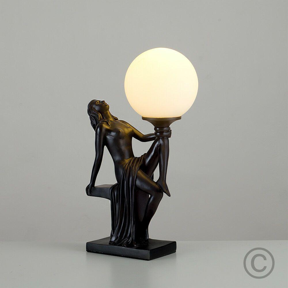 Vintage Art Deco Style Black White Glass Lady Statue