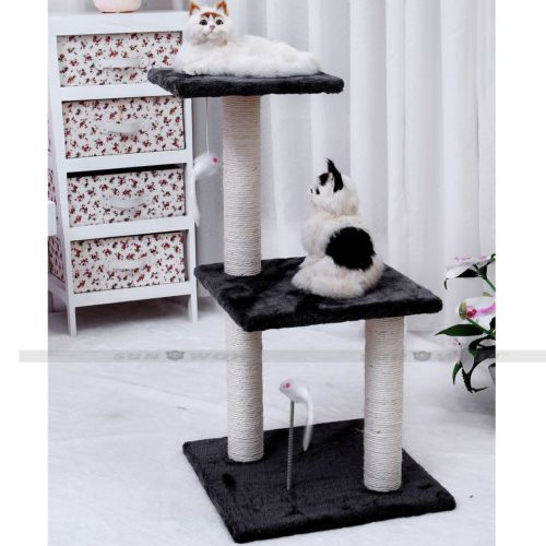 Home Gym Furniture: Pet-Grey-Cat-Climbing-Tree-Scratching-Post-Condo-Furniture