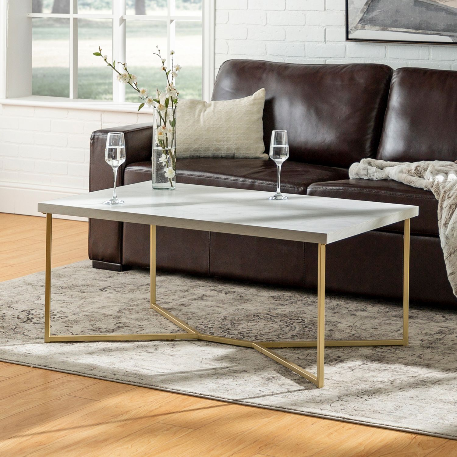 Contemporary Gold Faux Marble Y Leg Coffee Table In 2020 Home