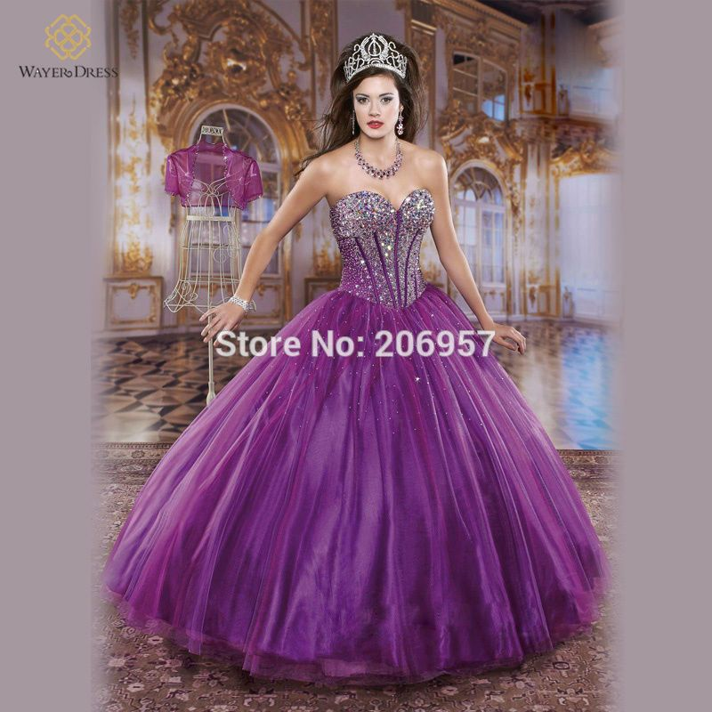 2015 New Purple/White Crystal Beaded Plus Size Princess Quinceanera ...
