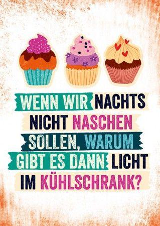 Postkarte Nachts Naschen Lustige Spruche Essen Diat Pinterest