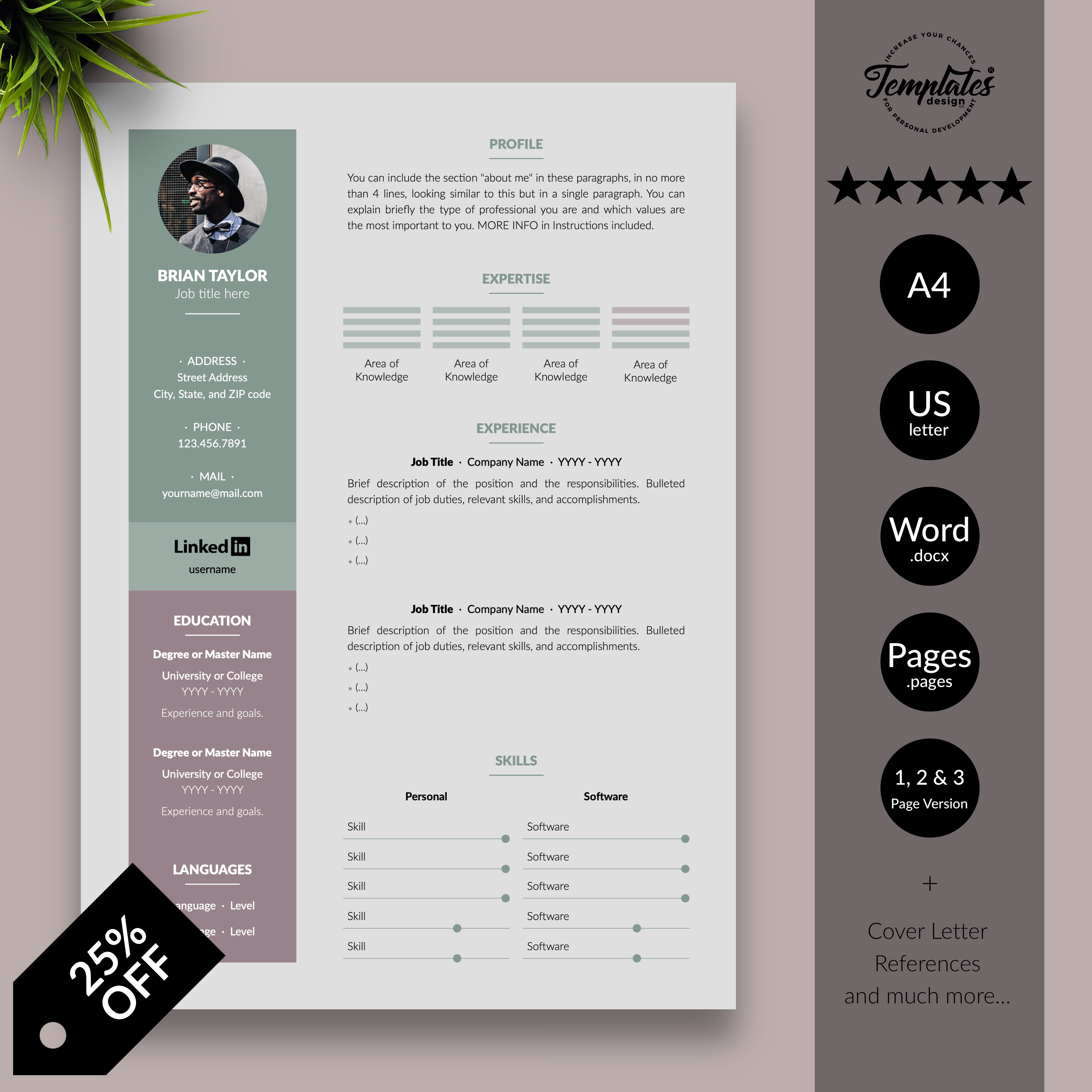 Elegant CV Resume Template for Microsoft Word and Apple