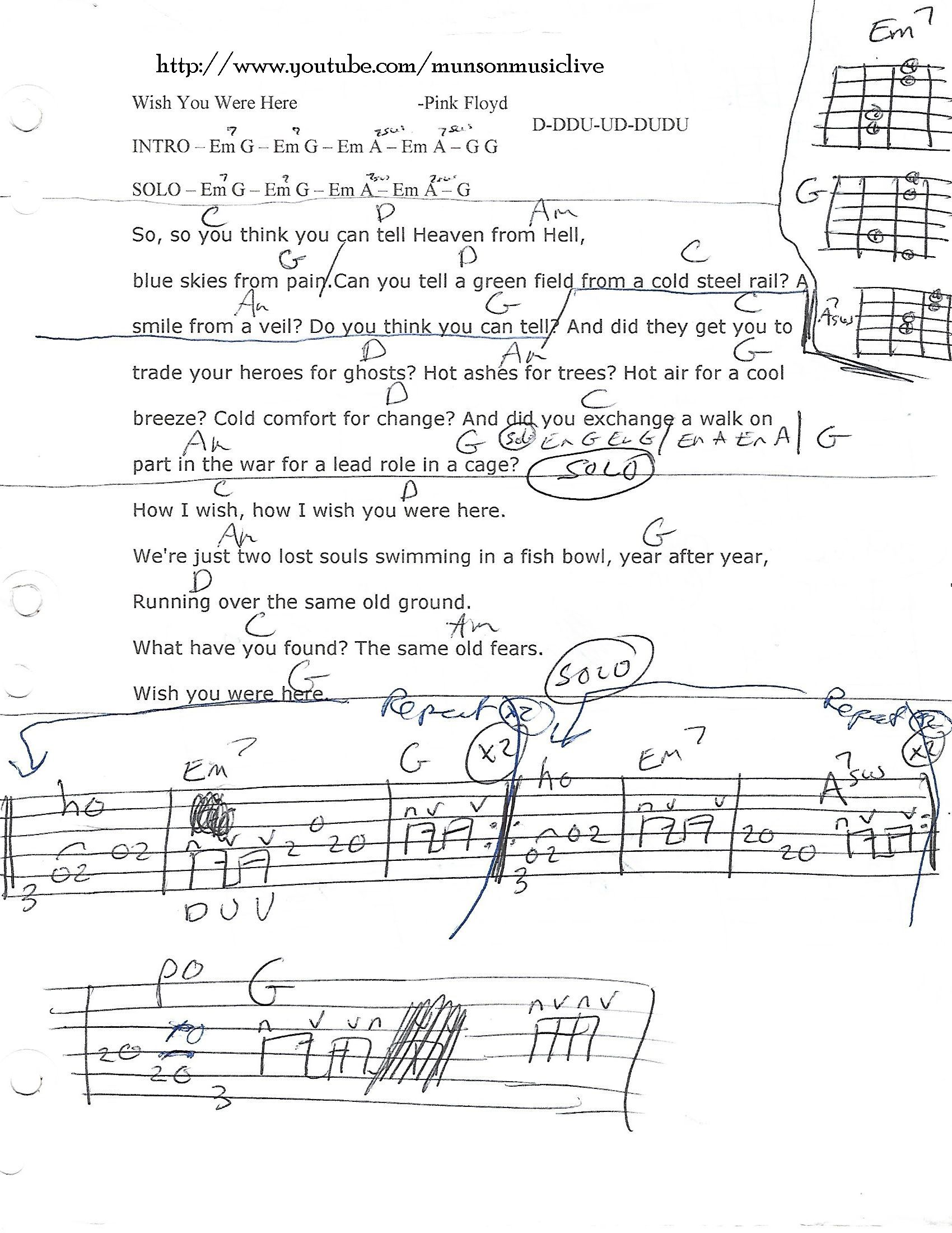 Wish You Were Here Pink Floyd Guitar Chord Chart Guitar Lesson