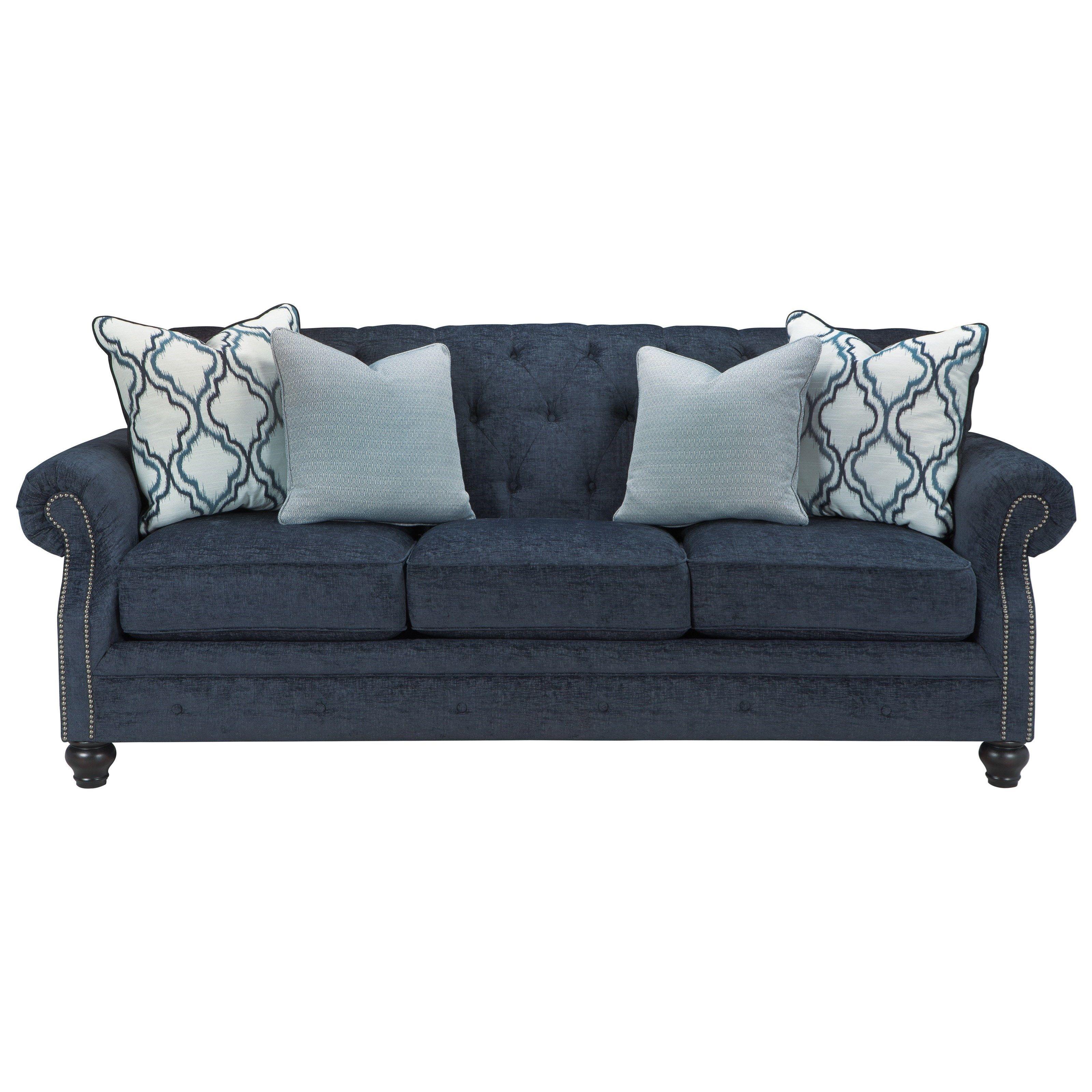 Lavernia Sofa By Benchcraft Navy Sofa Ashley Furniture Sofas Soft Throw Pillows