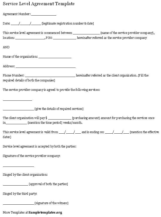 Service Level Agreement Template Service Agreement Template