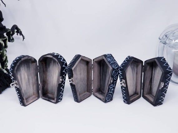 Photo of Halloween Decor Box- Small Coffin Keepsake Jewelry Box – Witch Box – Goth Gothic Decor – Witch Gift – Witchy Decor- Trinket Box skull Black