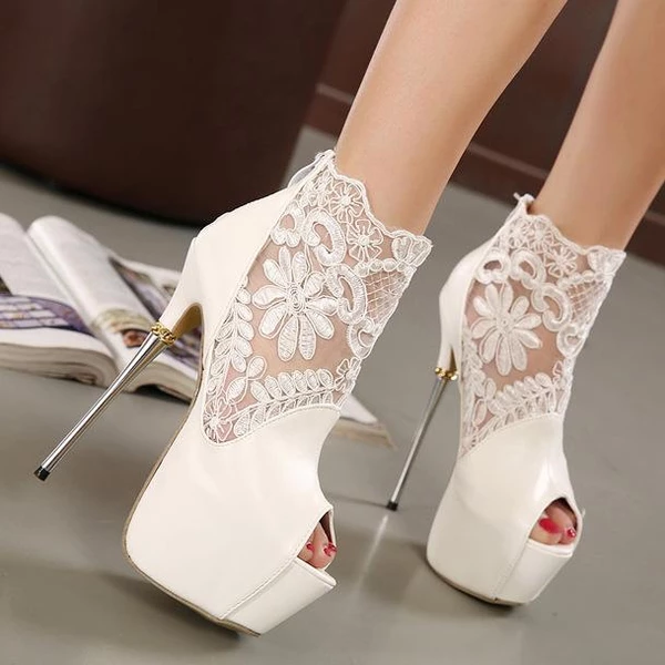 Lace Patchwork Peep Toe Platform Super Stiletto High Heels Sandals - #Heels #high #lace #Patchwork #Peep #Platform #Sandals #Stiletto #super #Toe