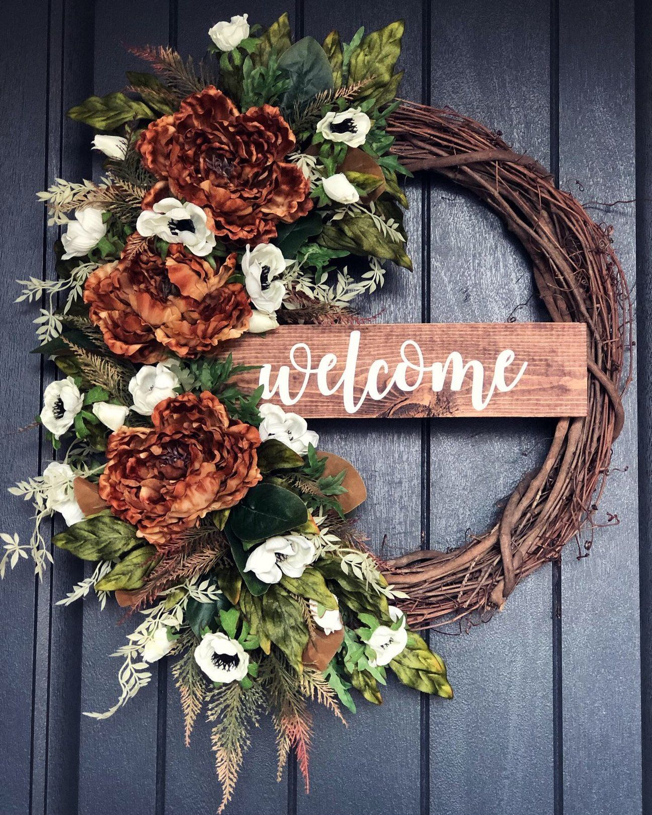 Fall Peony Welcome #fallwreaths