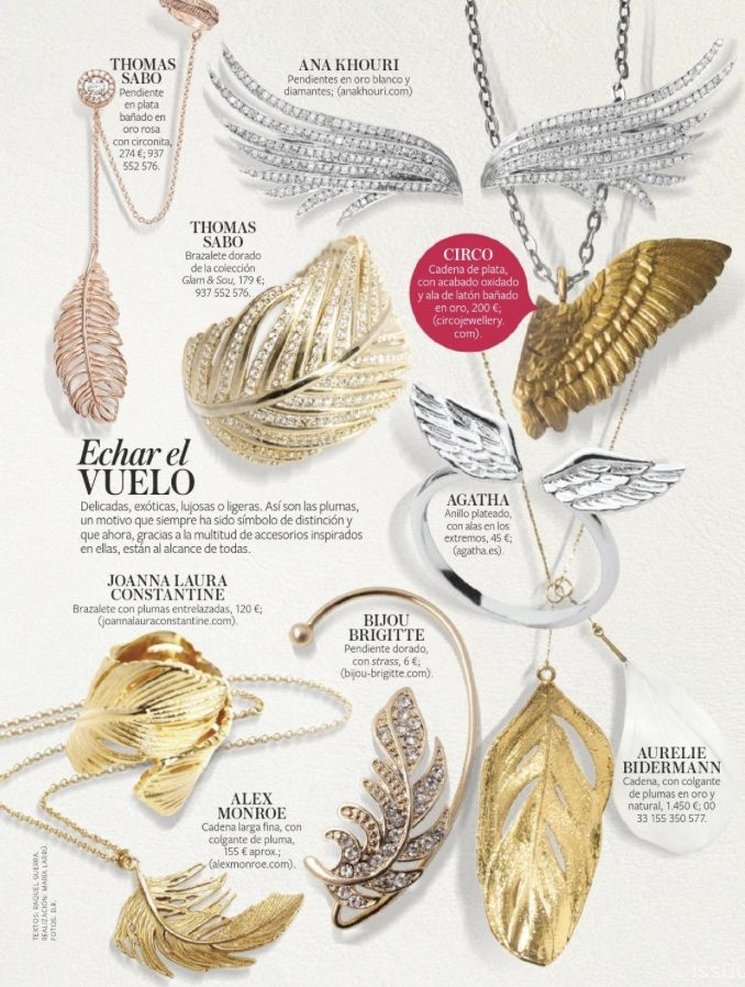InStyle Spain featuring our lovely classic  Big Feather Necklace http://www.alexmonroe.com/shop/big-single-feather-necklace
