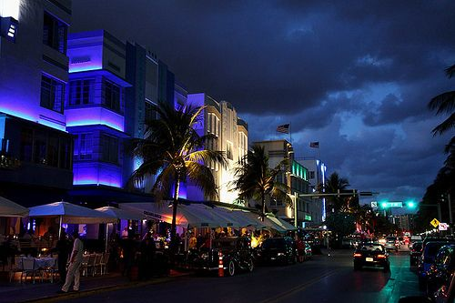 Ocean Drive Miami Beach Floridaby Kgxo Colorful Night Scene