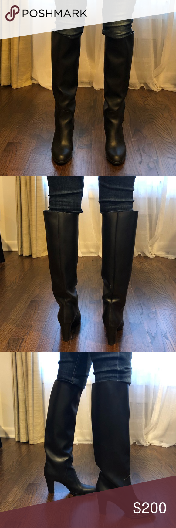 NEW Sergio Rossi Tall Rubber Boots Size 37.5 Brand new Sergio Rossi black rubber boots with heel. Pe...