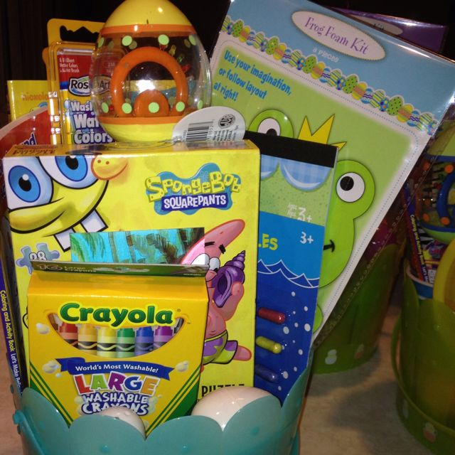 My nephews Easter basket. Again under 10 dollars. Everything was a dollar or less. Having two children under two years old means budget budget budget. :-)