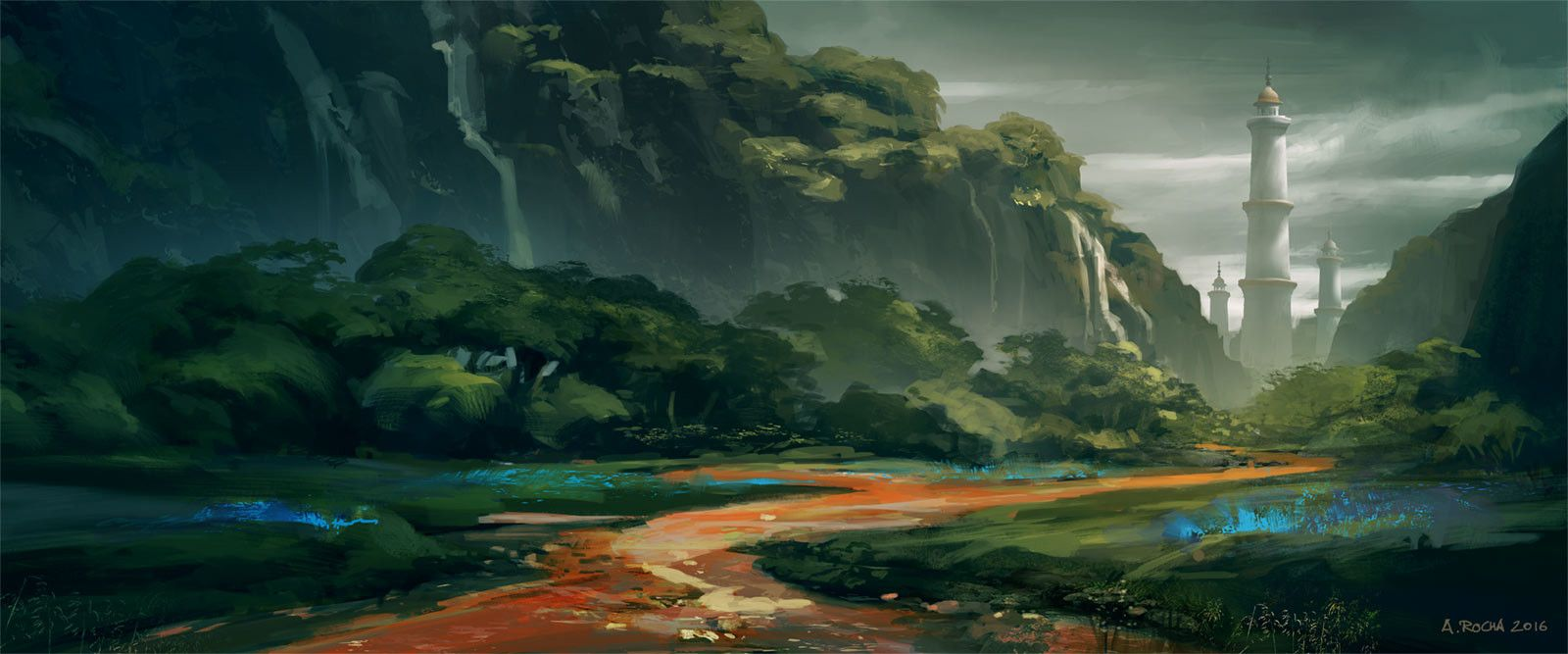Winding River, Andreas Rocha on ArtStation at https://www.artstation.com/artwork/rWRwO