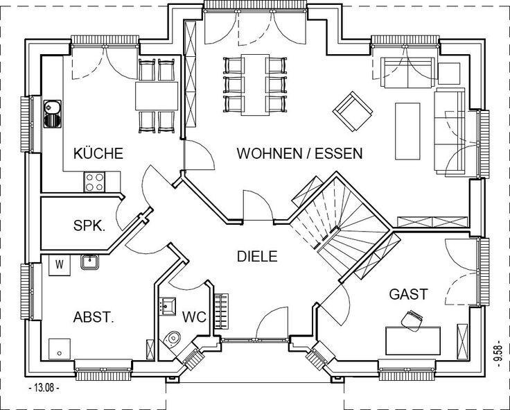 Landhaus Grundriss Erdgeschoss Mit 100,40 M² Wohnfläche | Planos De Casas |  Pinterest | Villa Plan, Haus And Sims House