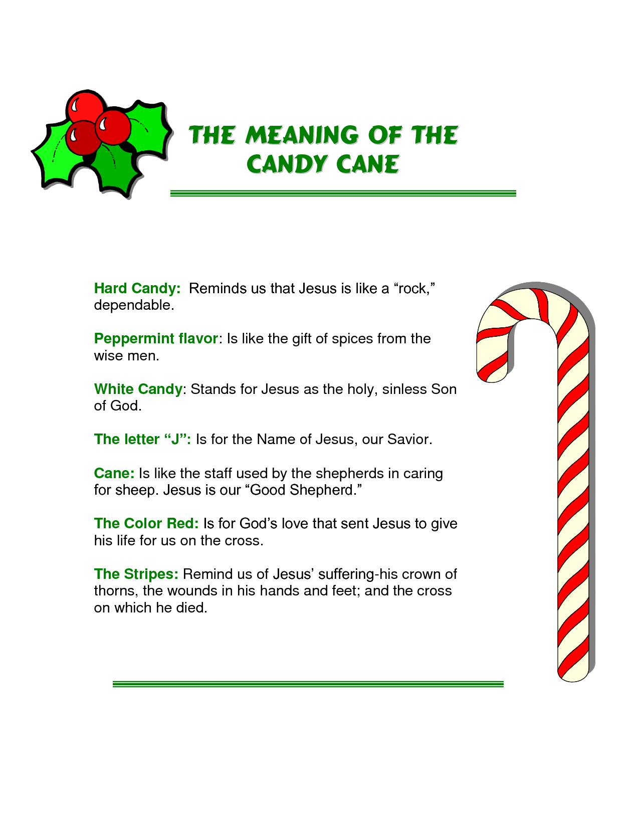 Printable Legend Of The Candy Cane