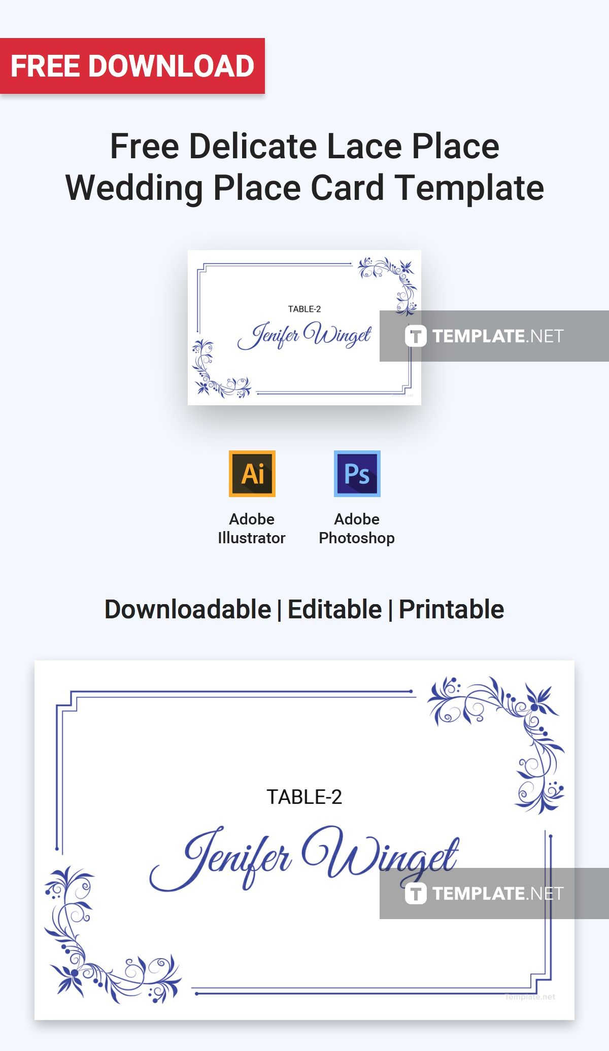 Free Delicate Lace Place Wedding Place Card Template Illustrator Word Apple Pages Psd Publisher Template Net Place Card Template Wedding Place Card Templates Place Card Template Word