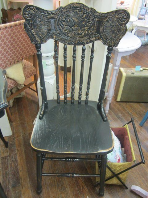 Nice Distressed Black Press Back Chair Old Wooden