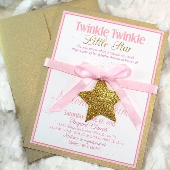 Twinke Twinkle Little Star Gold Baby Shower Invitations handmade