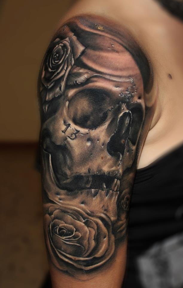 Skull and rose design skull tattoo designs for men for Girl tattoo artist