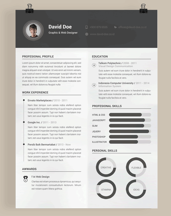 Free Resume Template PSD Photoshop