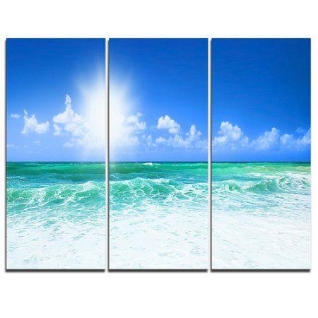 Design Art Beautiful Blue Beach 3 Piece Graphic Art On Wrapped Canvas Set Canvas Art Wall Decor Design Art Blue Wall Art