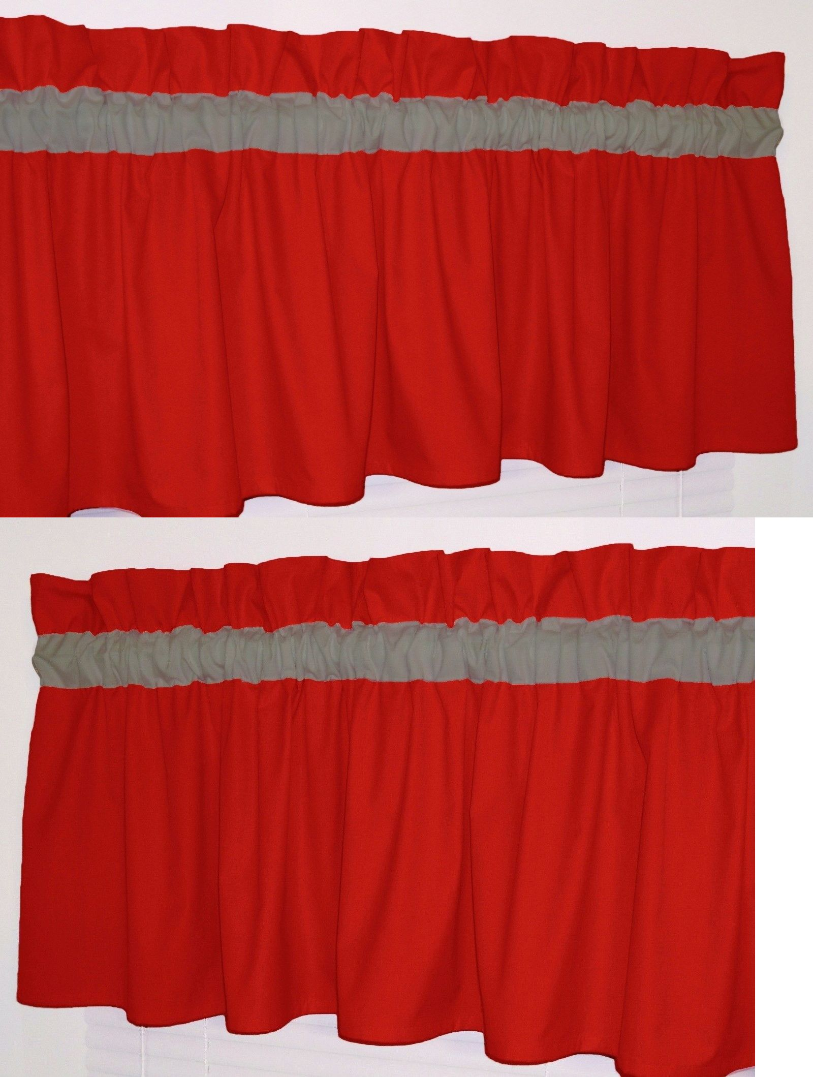 prodigious Solid Red Valances Part - 9: Window Treatments 20431: Solid Red And Gray Curtain Window Topper Valance  Kitchen School Bath Bedrooom -u003e BUY IT NOW ONLY: $12.99 on eBay!